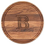 "Cutting Board Company 10.5-Inch Round Wood Monogram Letter ""B"" Cheese Board in Walnut"
