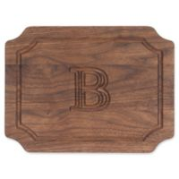 "Cutting Board Company 9-Inch x 12-Inch Scalloped Wood Monogram Letter ""B"" Cheese Board in Walnut"