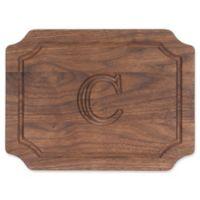 "Cutting Board Company 9-Inch x 12-Inch Scalloped Wood Monogram Letter ""C"" Cheese Board in Walnut"