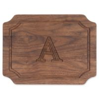 """Cutting Board Company 9-Inch x 12-Inch Scalloped Wood Monogram Letter """"A"""" Cheese Board in Walnut"""
