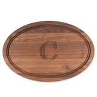 "Cutting Board Company 12-Inch x 18-Inch Wood Oval Monogram Letter ""C"" Cutting Board in Walnut"