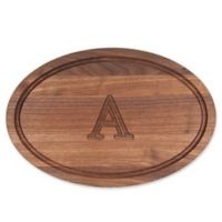 "Cutting Board Company 12-Inch x 18-Inch Wood Oval Monogram Letter ""A"" Cutting Board in Walnut"