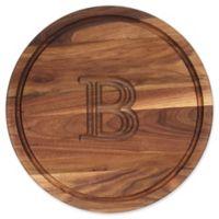 """Cutting Board Company 16-Inch Round Wood Monogram Letter """"B"""" Cutting Board in Walnut"""