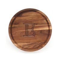 "Cutting Board Company 16-Inch Round Wood Monogram Letter ""E"" Cutting Board in Walnut"