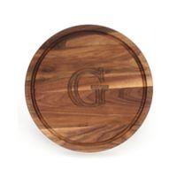 """Cutting Board Company 16-Inch Round Wood Monogram Letter """"G"""" Cutting Board in Walnut"""