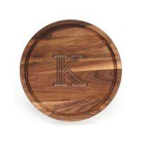 """Cutting Board Company 16-Inch Round Wood Monogram Letter """"K"""" Cutting Board in Walnut"""