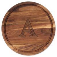 """Cutting Board Company 16-Inch Round Wood Monogram Letter """"A"""" Cutting Board in Walnut"""