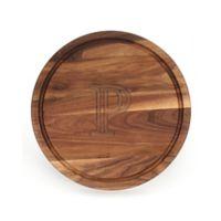 "Cutting Board Company 16-Inch Round Wood Monogram Letter ""P"" Cutting Board in Walnut"