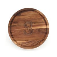 "Cutting Board Company 16-Inch Round Wood Monogram Letter ""S"" Cutting Board in Walnut"