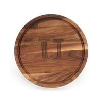 """Cutting Board Company 16-Inch Round Wood Monogram Letter """"U"""" Cutting Board in Walnut"""