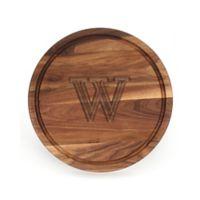 """Cutting Board Company 16-Inch Round Wood Monogram Letter """"W"""" Cutting Board in Walnut"""