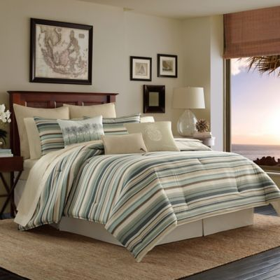Perfect Tommy Bahama® Canvas Stripe Reversible California King Comforter Set In  Medium Green