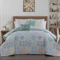 Cruz Reversible King Duvet Cover Set in White/Aqua