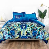 Catalina Estrada Ce Jardin 5-Piece Full/Queen Reversible Comforter Set in Navy/Green