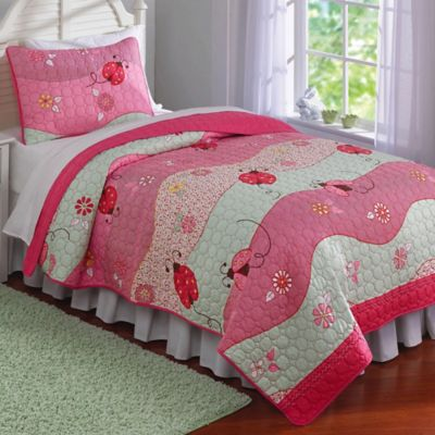 garden waves 2piece twin quilt set in pink - Twin Quilts