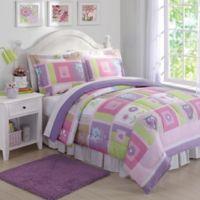 Happy Owls 2-Piece Twin Comforter Set in Pink/Purple