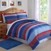 Sebastian Stripe 2-Piece Twin Comforter Set in Blue/Red