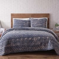 Brooklyn Loom Sand-Washed Reversible Twin XL Quilt Set in Blue