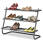 Whitmor 3-Tier Angled  Shoe Rack in Gunmetal with Fabric Shelves
