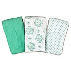 Swaddleme® 3-Pack Ornate Geo Muslin Swaddle Blankets in Teal