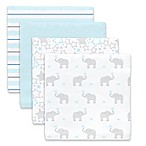 SwaddleDesigns® Elephant Dream Muslin Swaddle Blanket in Blue (Set of 4)