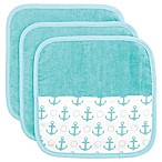 Elegant Baby® 3-Piece Organic Washcloth Set in Aqua Anchor Print