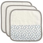 Elegant Baby 3-Piece Organic Washcloth Set in Grey Dot Print