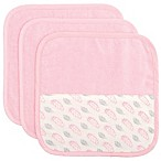 Elegant Baby 3-Piece Organic Washcloth Set in Pink Feather Print