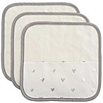 Elegant Baby 3-Piece Organic Washcloth Set in Silver Heart Print