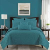 Paloma Reversible King Quilt Set in Aqua