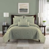Paloma Reversible Full/Queen Quilt Set in Celadon