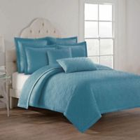 Remi Satin Reversible King Quilt Set in Sky Blue