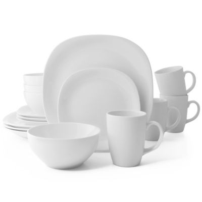 Thomson Pottery Quadro 16-Piece Dinnerware Set in White  sc 1 st  Bed Bath \u0026 Beyond : bed bath beyond dinnerware - pezcame.com