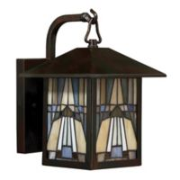 Quoizel Inglenook 10.5-Inch 1-Light Outdoor Wall Lantern in Valiant Bronze with Glass Shade