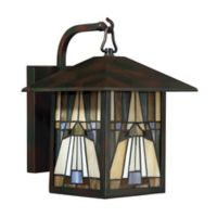 Quoizel Inglenook 12-Inch 1-Light Outdoor Wall Lantern in Valiant Bronze with Glass Shade