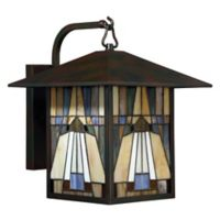 Quoizel Inglenook 14-Inch 1-Light Outdoor Wall Lantern in Valiant Bronze with Glass Shade