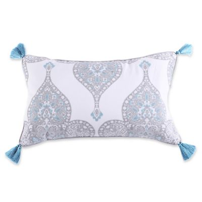 levtex home massana screenprint tassel throw pillow in greyblue