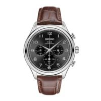Seiko Men's 42mm Solar Chronograph Watch in Stainless Steel w/Brown Leather Strap