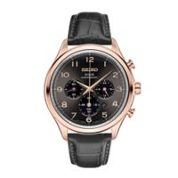 Seiko Men's 42mm Solar Chronograph Watch in Rose Goldtone Stainless Steel w/Leather Strap