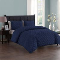 VCNY Home Lattice Embossed Twin/Twin XL Duvet Cover Set in Navy
