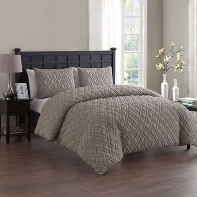 Vcny Home Lattice Embossed King Duvet Cover Set In Taupe