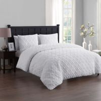 VCNY Home Lattice Embossed Twin/Twin XL Duvet Cover Set in White