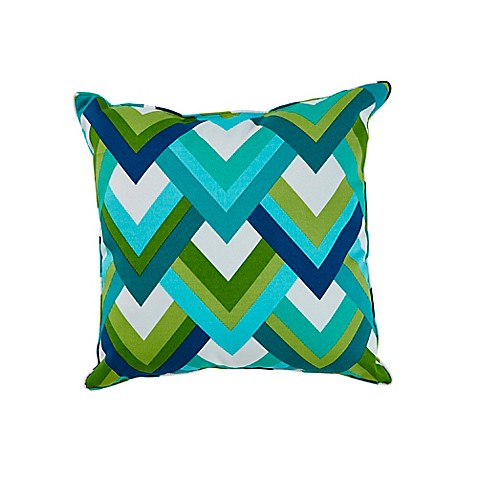 Resort Square Outdoor Throw Pillow in Peacock