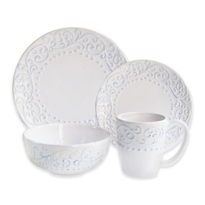 american atelier bianca scroll 16piece dinnerware set in blue - White Dinnerware Sets