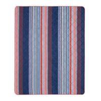Blake Indoor/Outdoor Stripe Throw Blanket in Navy/Red
