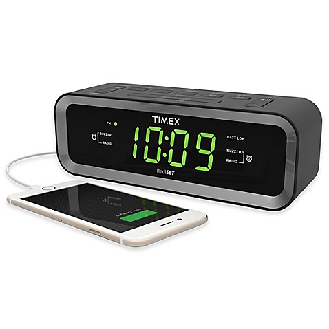image of Timex  FM Dual Alarm Clock Radio with USB Charge Port. Travel   Bedside Alarm Clocks and Clock Radios   Bed Bath   Beyond