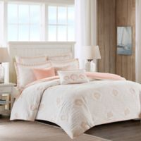 Harbor House Twin Seaside Coral Quilted Duvet Cover in Coral/White