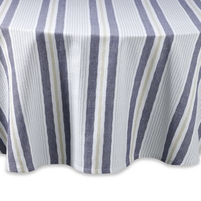Lake Stripe 70 Inch Round Tablecloth