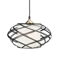 Southern Enterprises Alento Ceiling Mount Cage Pendant Lamp in Black