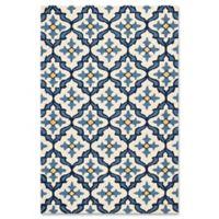 KAS Harbor Mosaic 3-Foot 3-Inch x 5-Foot 3-Inch Indoor/Outdoor Area Rug in Ivory/Blue